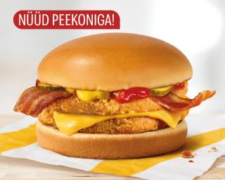 Topelt-kanaburger juustu ja peekoniga